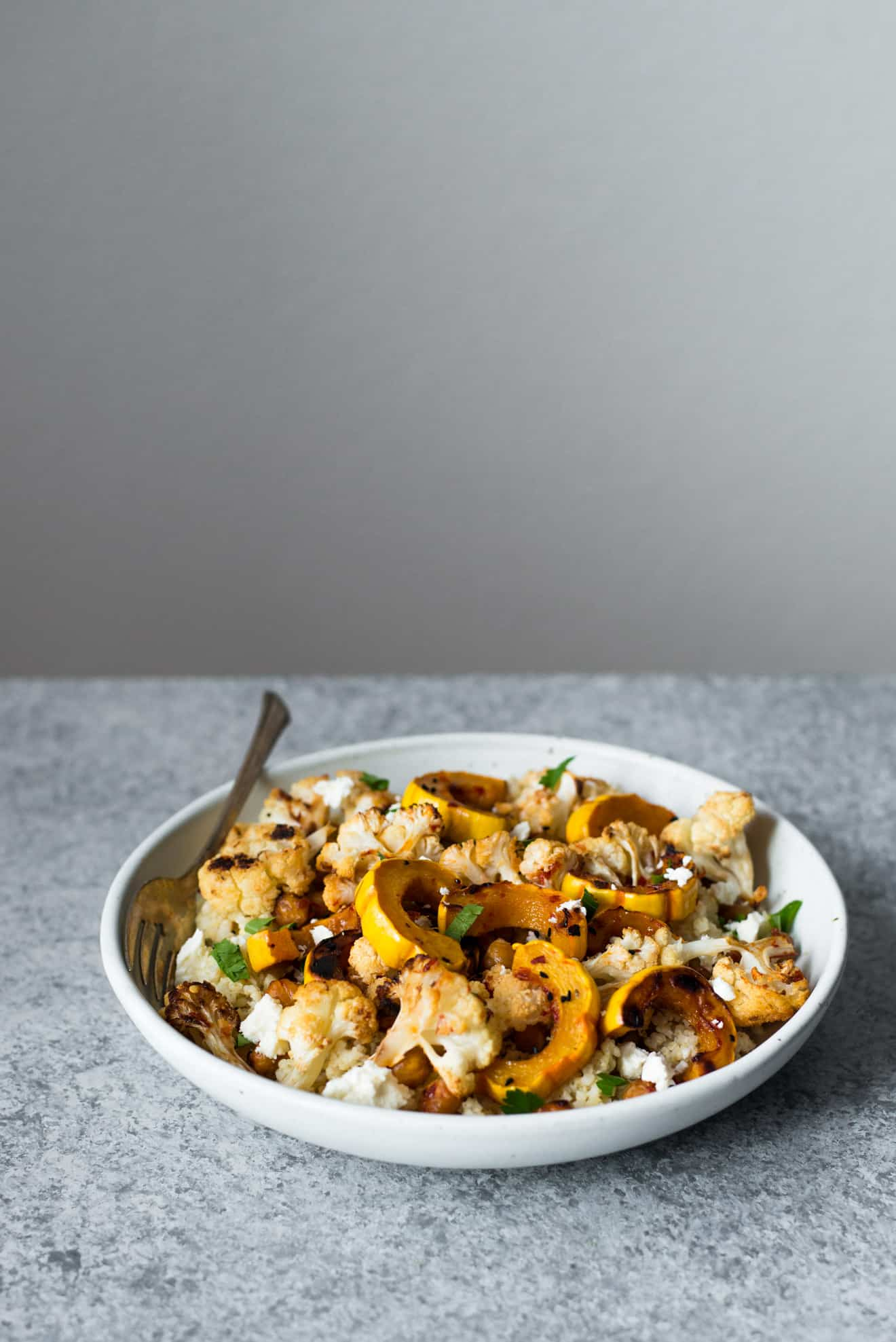 This Harissa Roasted Cauliflower with Delicata Squash & Chickpeas is a ...