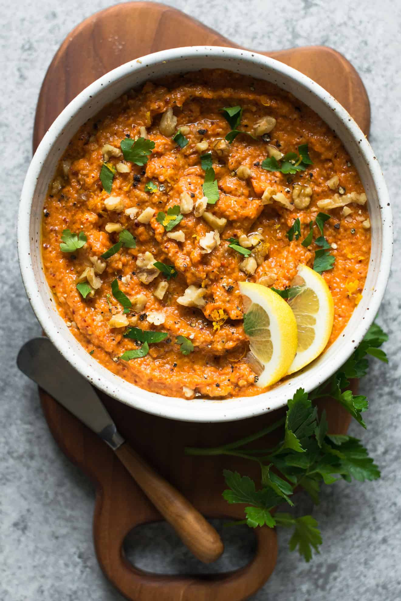 Gluten-Free Muhammara - this tasty, low fat Middle Eastern dip is filled with tangy and sweet flavors. Perfect for gatherings!