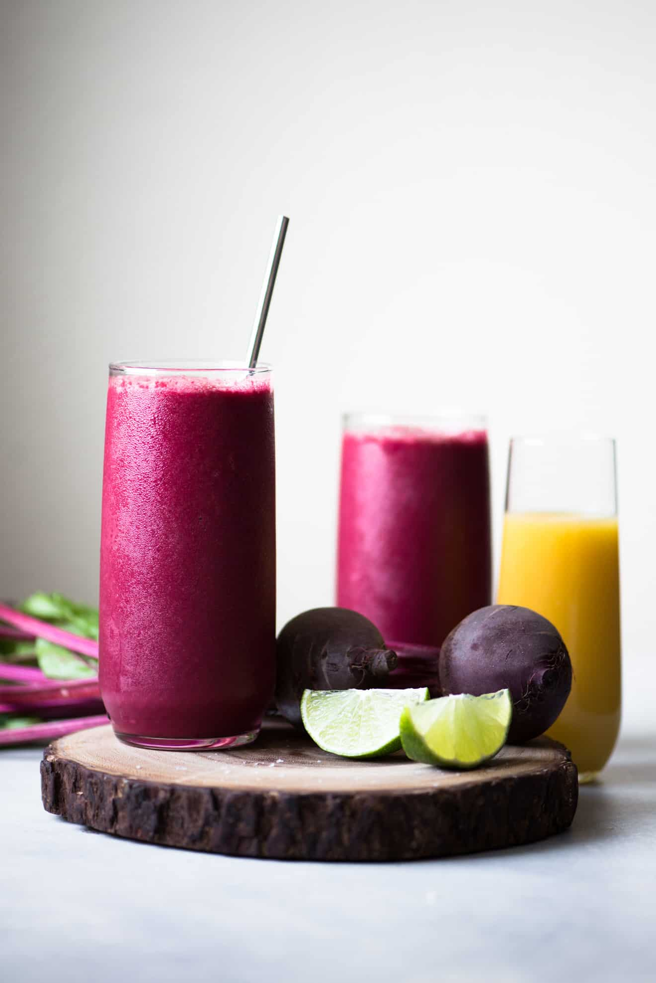 Red Beet Smoothie - a tasty smoothie made with beets and beet greens! Brighten up your day with this extra shot of energy from vegetables!