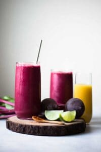 Red Zinger Beet Smoothie - a tasty smoothie made with beets and beet greens! Brighten up your day with this extra shot of energy from vegetables!