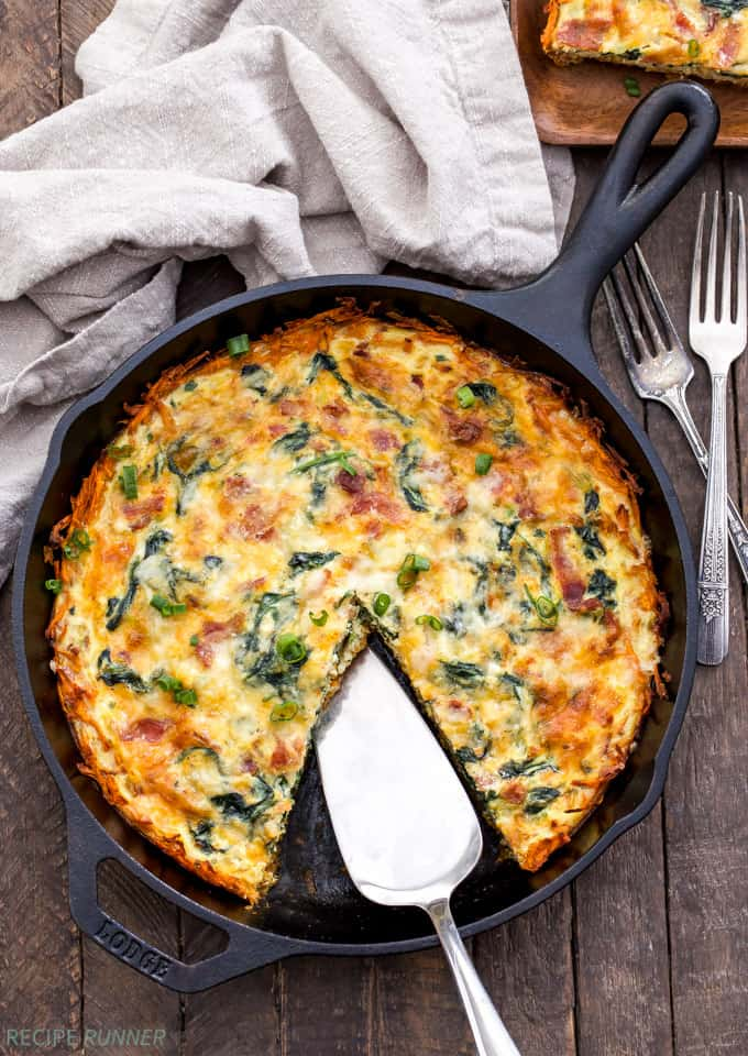 Spinach Bacon Cheese Quiche with Sweet Potato Crust from Recipe Runner