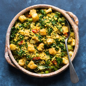 Curried Millet Stir Fry with Kohlrabi - a healthy, gluten-free and vegan dinner ready in under 30 minutes!