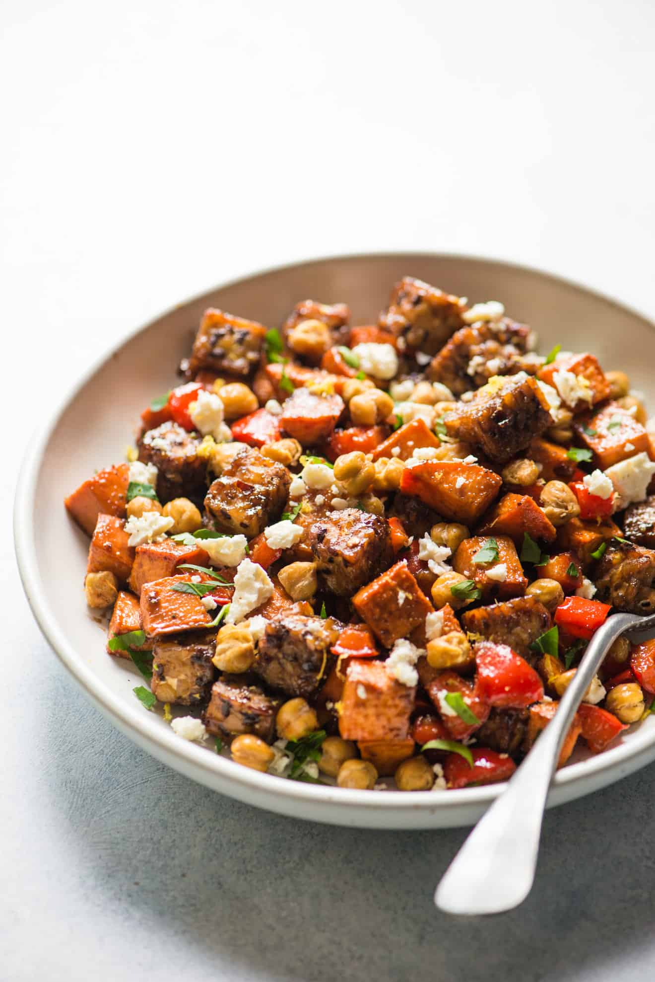 Roasted Tempeh with Tamarind Glaze, Sweet Potatoes and Roasted Chickpeas - an easy, healthy sheet pan dinner that's great for weeknights!