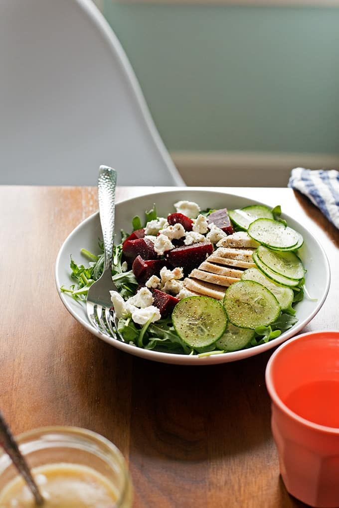 Chicken, Beet Arugula Salad