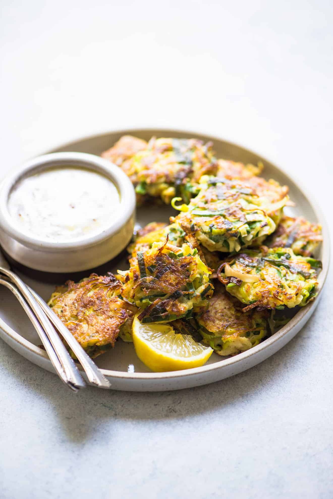 Leek and Kohlrabi Fritters with Sumac Yogurt - simple fritters that are great for an appetizer!