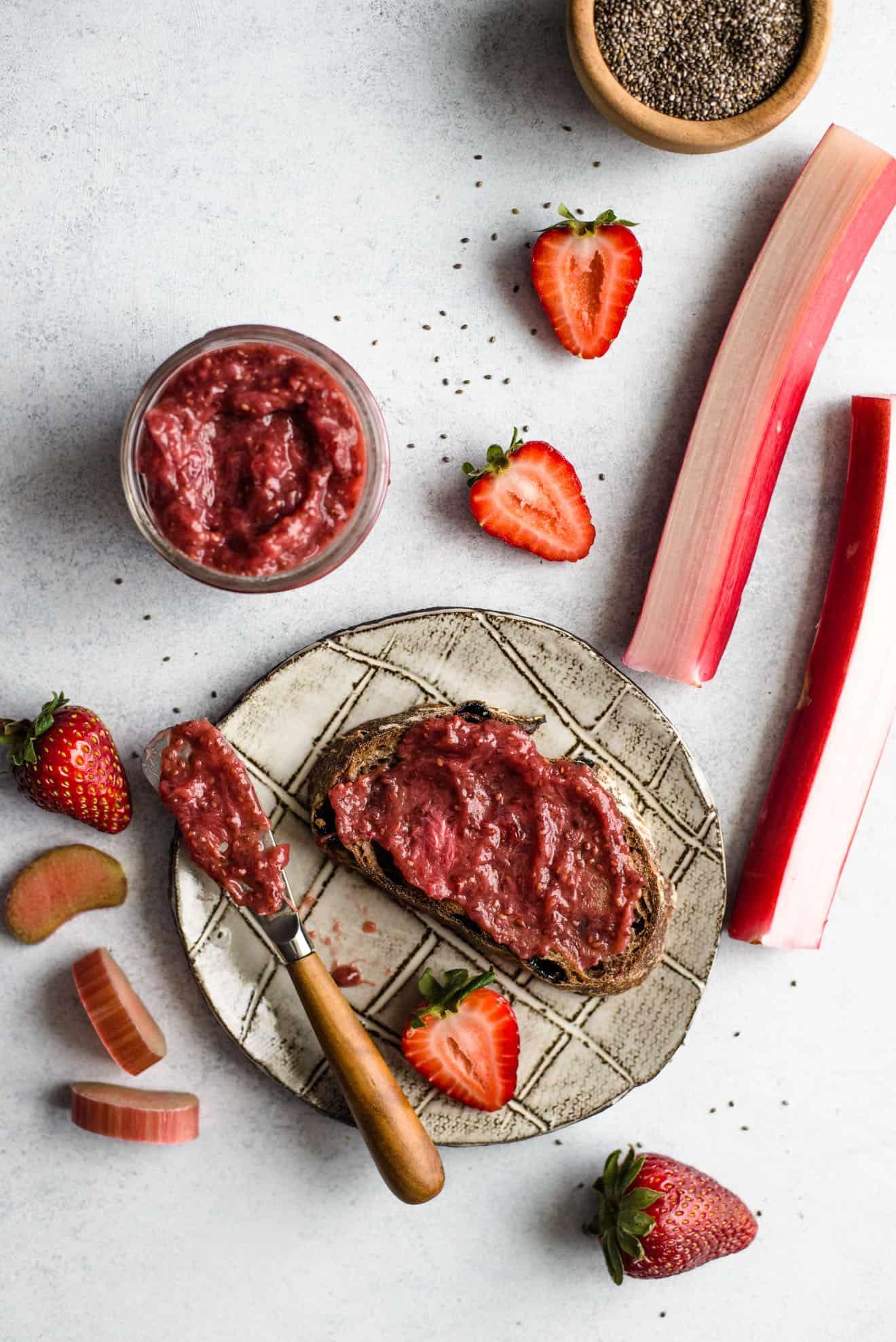 Strawberry Rhubarb Chia Seed Jam - an easy, paleo-friendly jam!