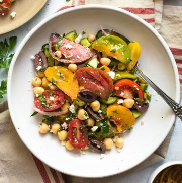 Greek Salad with Chickpeas - a healthy salad that is great as a side or main dish!