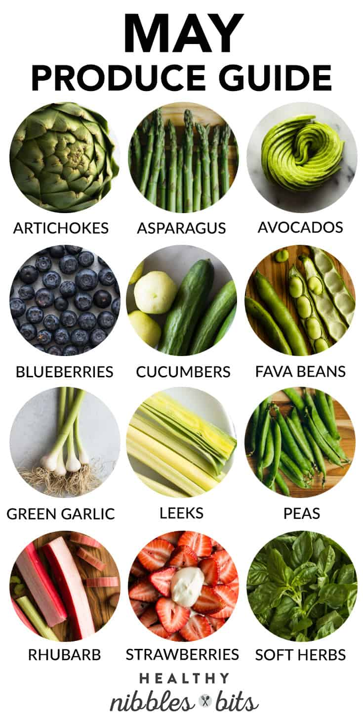 May Produce Guide - learn what's in season, plus tips on how to properly store the produce and recipe ideas!