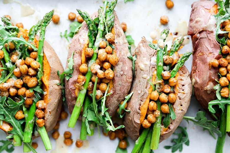 Stuffed Sweet Potatoes with Asparagus and Chickpeas
