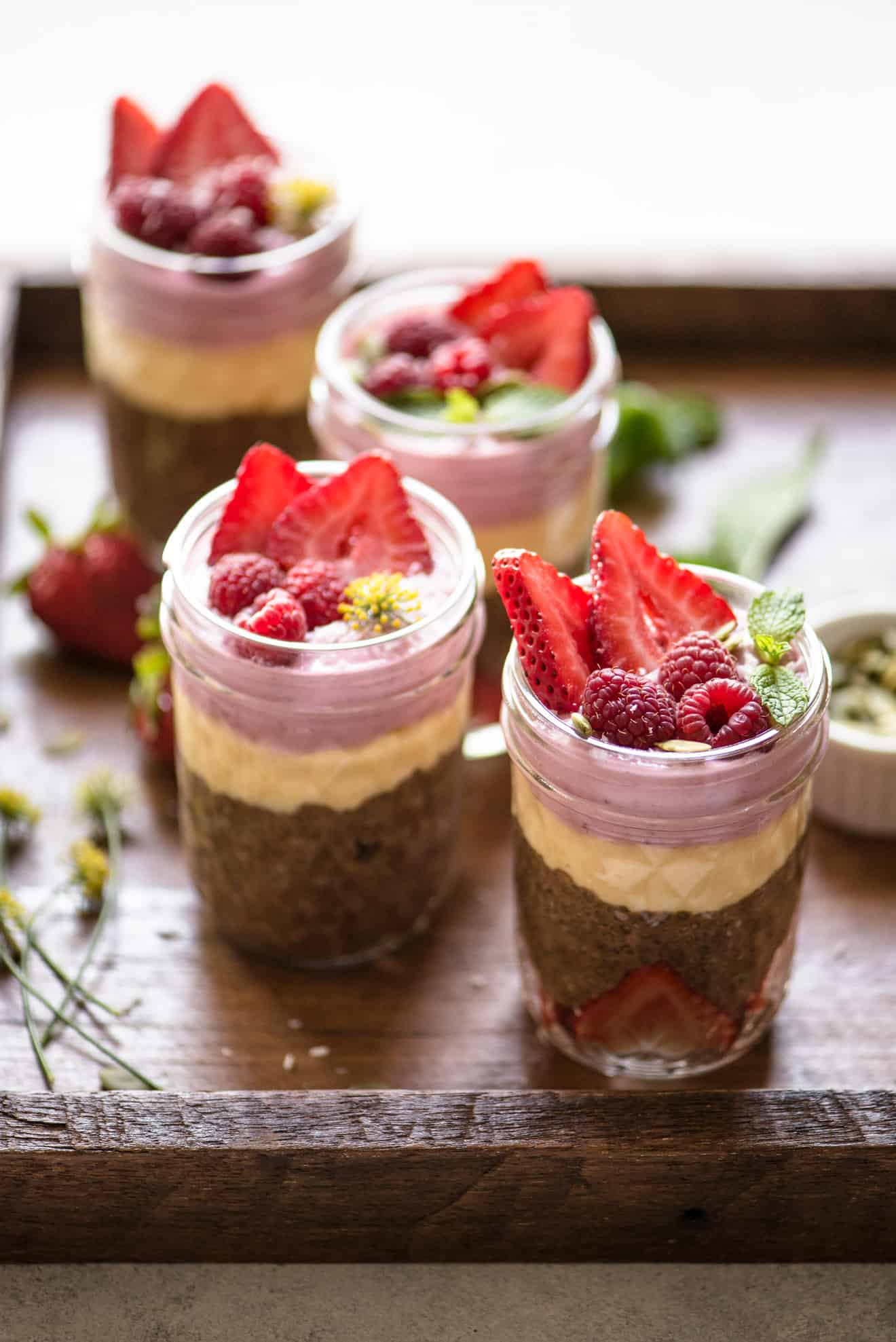 VEGAN Chocolate Chia Pudding Parfaits with Mango & Mixed Berry Mousse - a simple, healthy dessert that is great for summer!