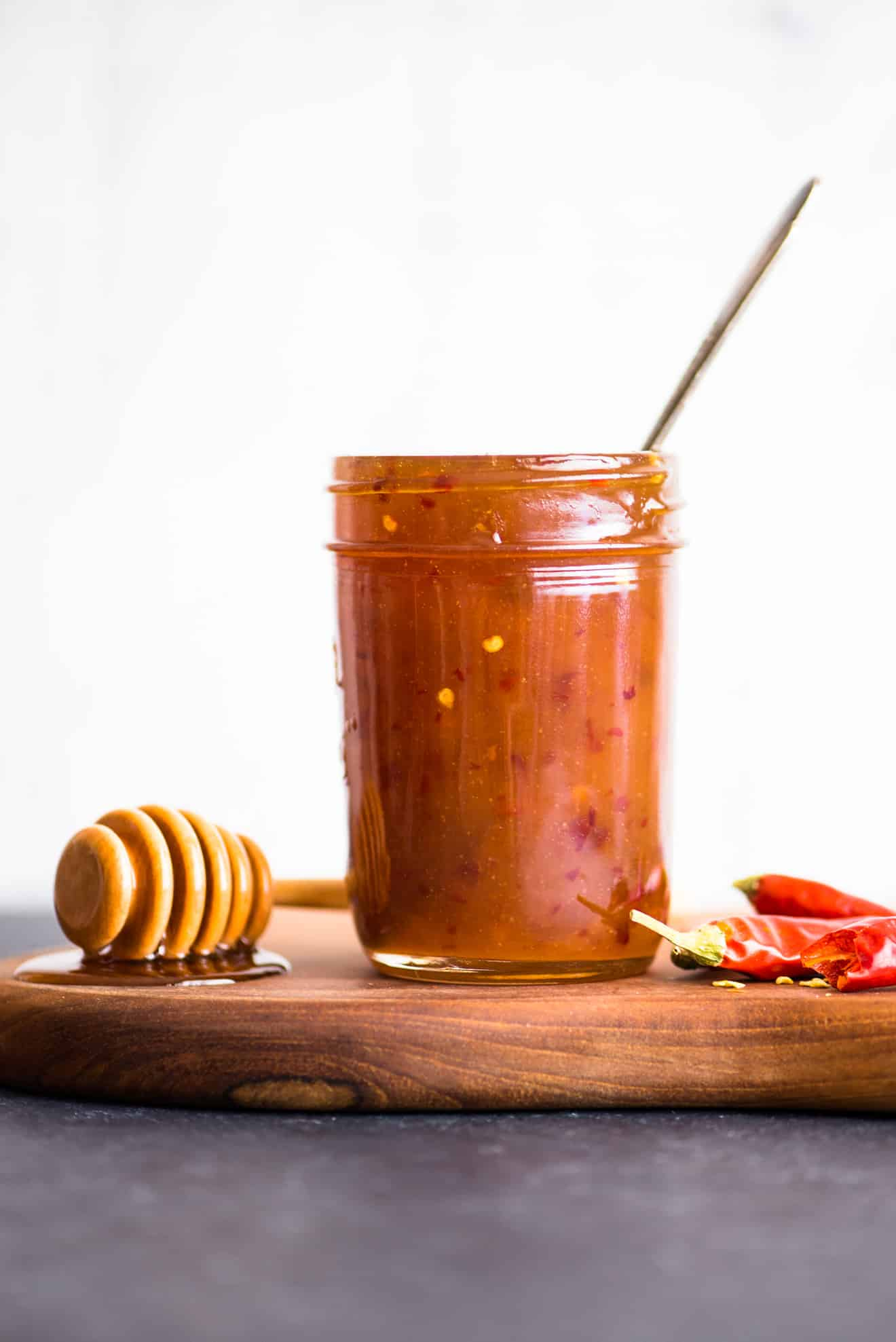 A healthier sweet chili sauce made with honey. It takes less than 10 minutes to prepare and it's great for stir fries or as a dipping sauce for appetizers!