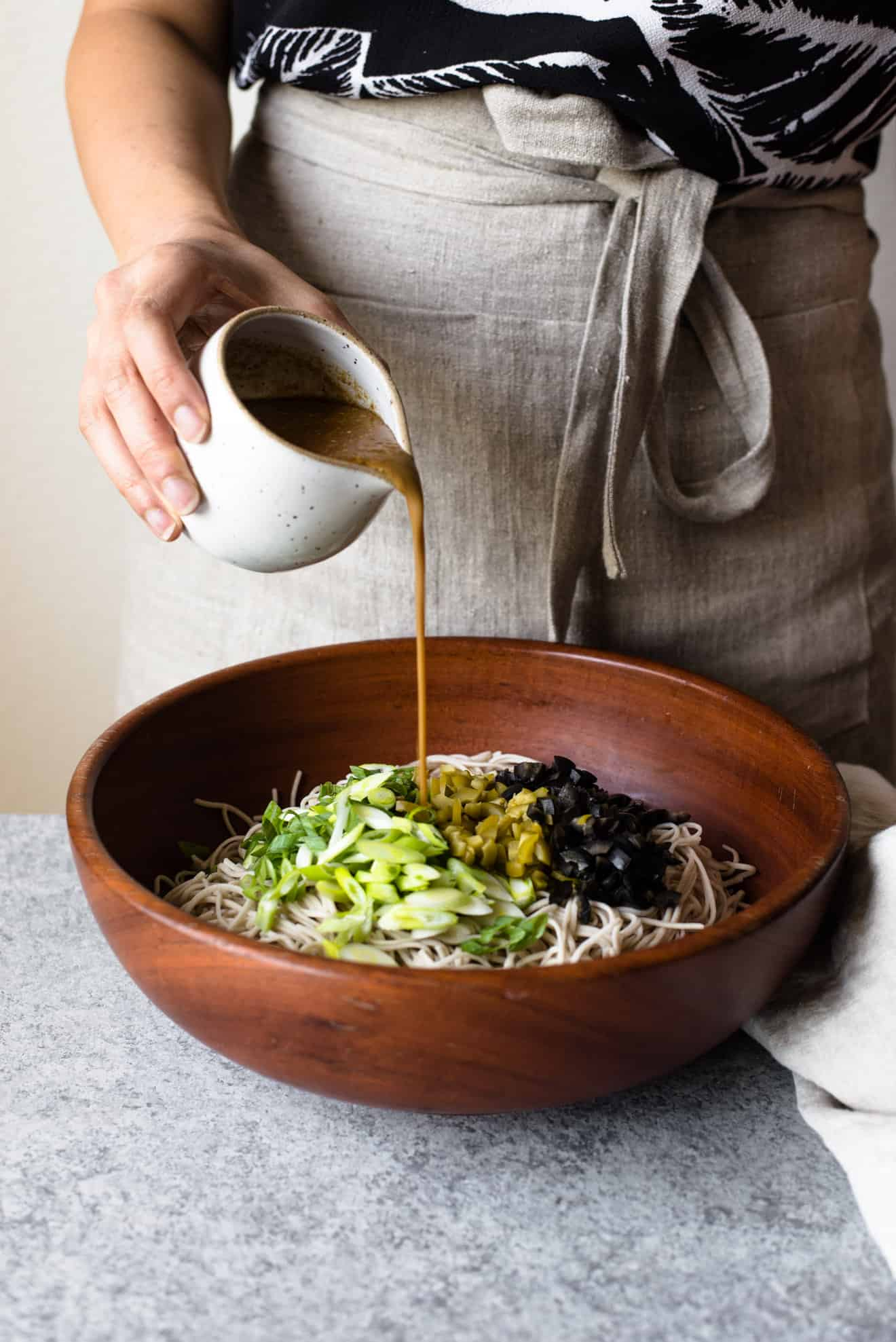 30-MINUTE Sesame and Olive Soba Noodles - Soba noodles are tossed with a sesame and olive sauce - easy, healthy vegan meal!