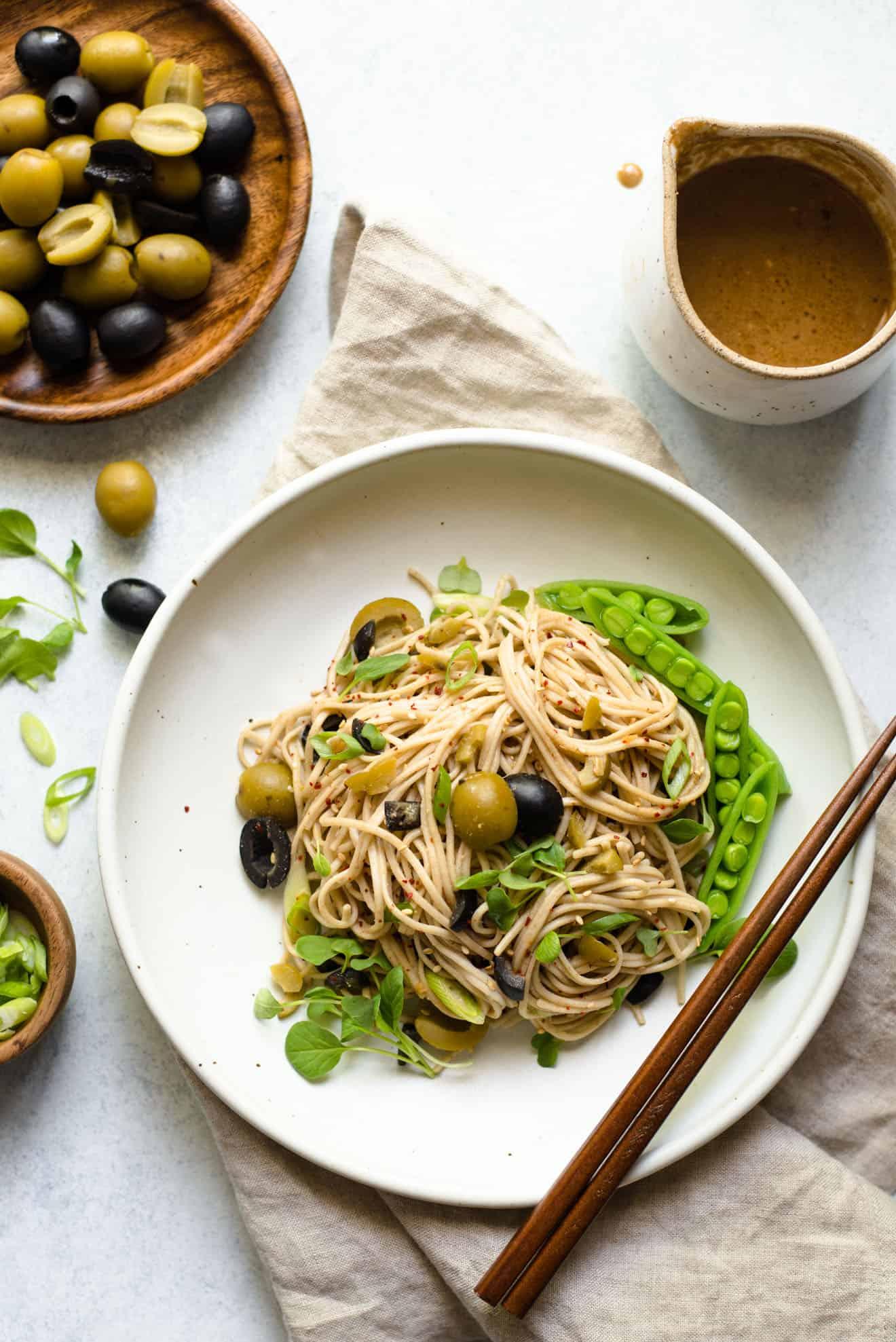 30-MINUTE Sesame and Olive Soba Noodles - Soba noodles are tossed with a sesame and olive sauce - easy, healthy vegan meal!