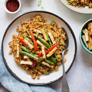 Leftovers: Red Curry Quinoa with Honey Chili Tofu Stir Fry