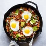 Chilaquiles with Gochujang: a Korean Mexican fusion dish perfect for brunch! #vegetarian #gluten free #healthy