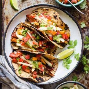 #VEGAN Tamarind Glazed Vegetable Tacos with Apple Slaw - easy weeknight meal!