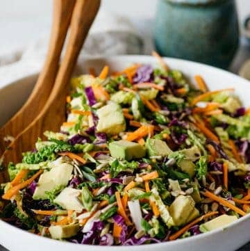 Cabbage and Carrot Slaw with Almond Butter Vinaigrette #vegan #glutenfree #healthy