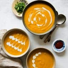 Creamy, Gingery Carrot & Sweet Potato Soup (vegan)