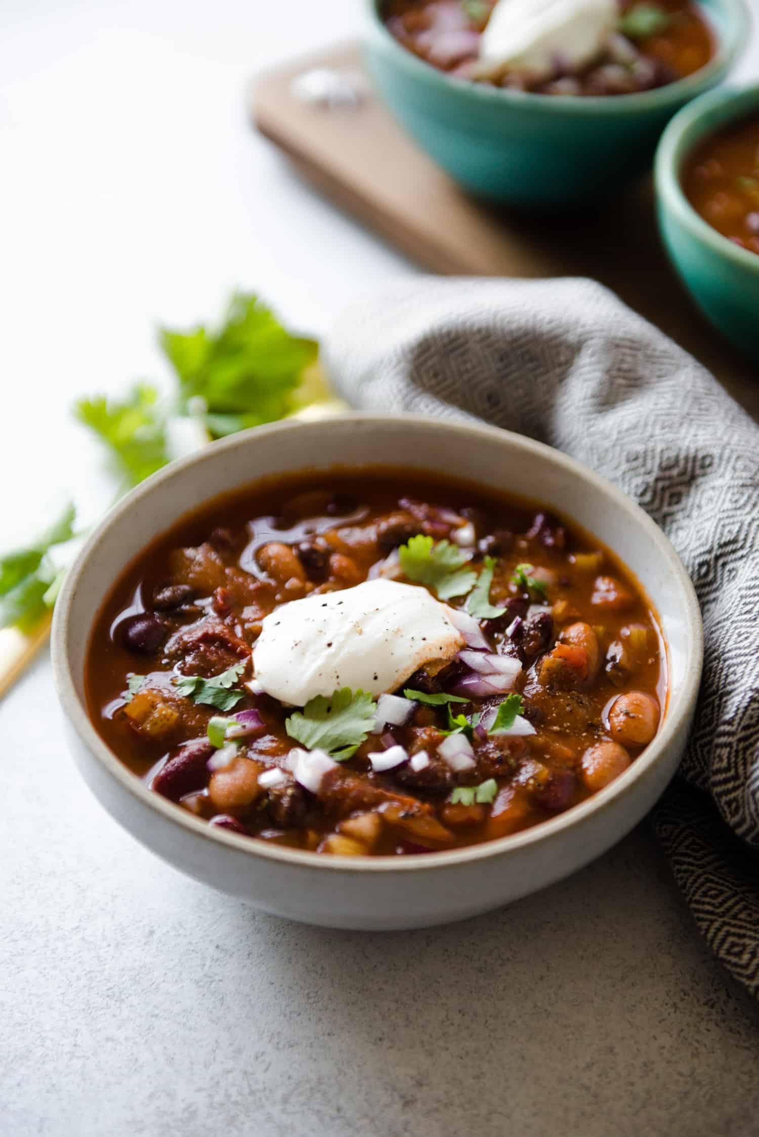 Chipotle Vegetarian Three Bean Chili - an easy and filling one-pot meal!
