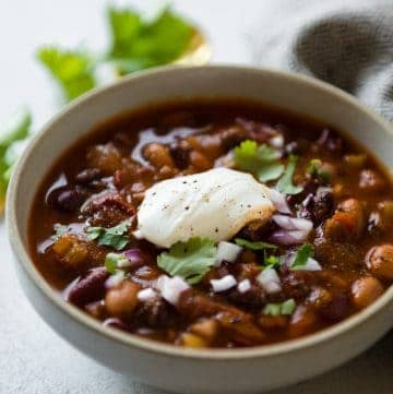 Chipotle Vegetarian Three Bean Chili - an easy and filling one-pot meal that is packed with protein!