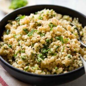 Ginger and Shallot Cauliflower Rice (vegan + paleo)