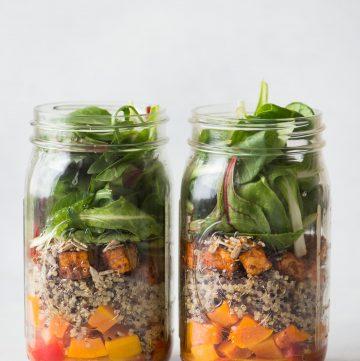 Mason Jar Salads with Butternut Squash, Red Curry Tofu, and Quinoa