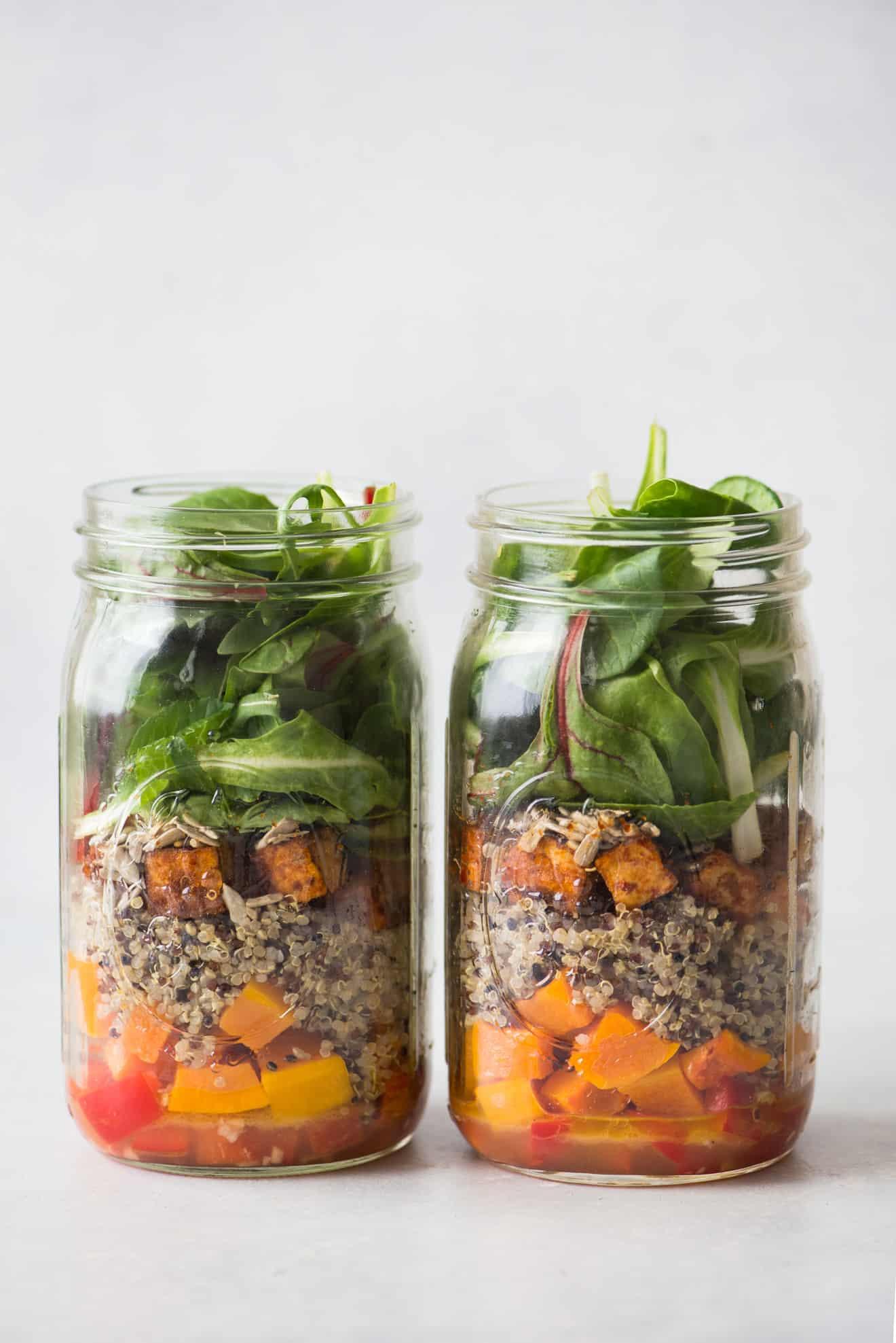 Mason Jar Salad with Red Curry Tofu, Quinoa and Butternut Squash
