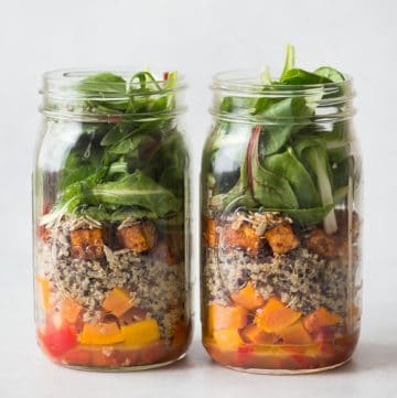 Mason Jar Salad with Red Curry Tofu, Quinoa and Butternut Squash