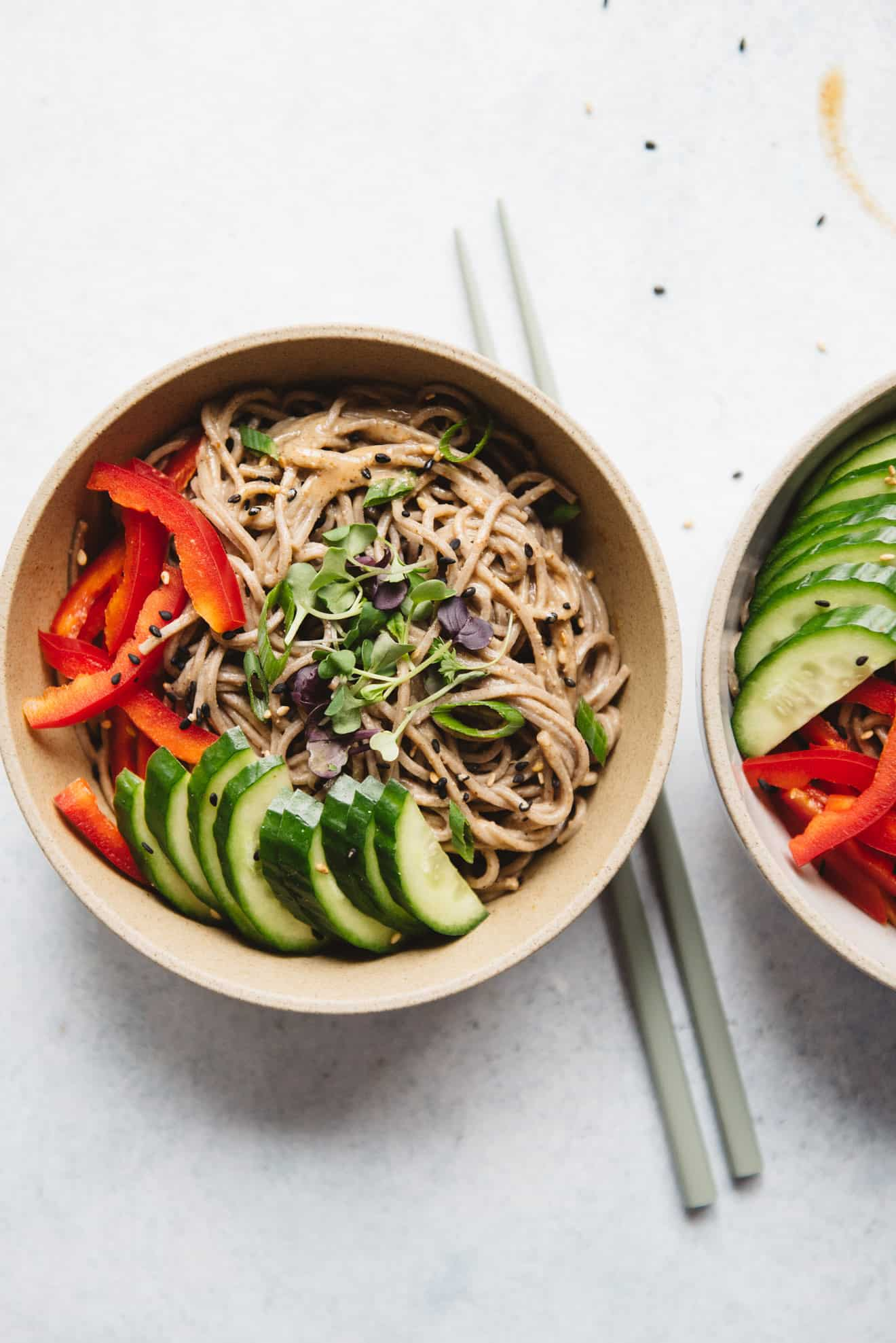 Cold Soba Noodles with Almond Butter Sauce (Vegan)