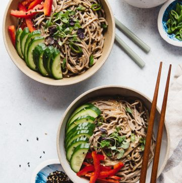 Soba Noodles with Almond Butter Sauce (Vegan)