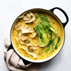 Tofu Wontons with Yellow Curry Broth (Vegetarian Dumplings)