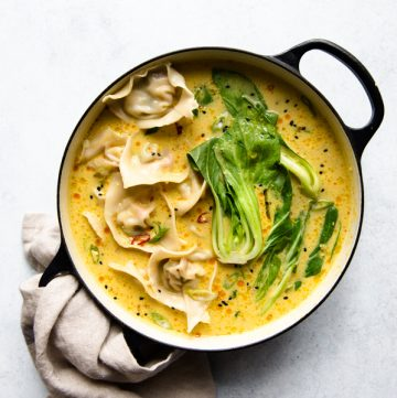Tofu Wontons with Yellow Curry Broth