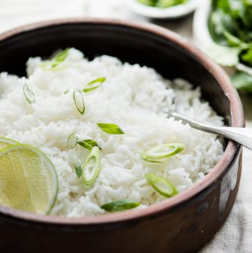 Simple and Healthy Coconut Rice Recipe ready in under 30 minutes (vegan, gluten free)