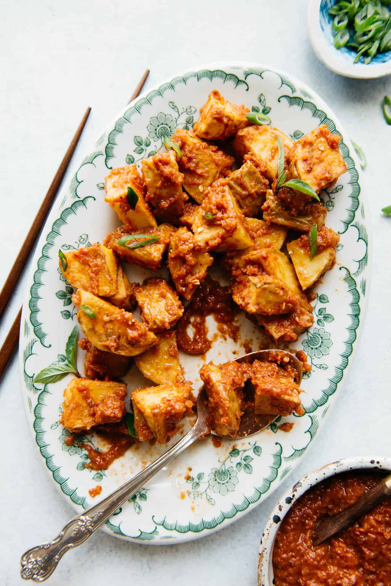 Sambal Potatoes - an easy vegan side dish that is filled with Southeast Asian spices. It's spicy, tangy and so addictive!