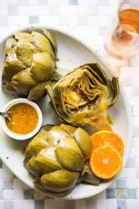 Braised Artichokes with Mandarin Chili Sauce