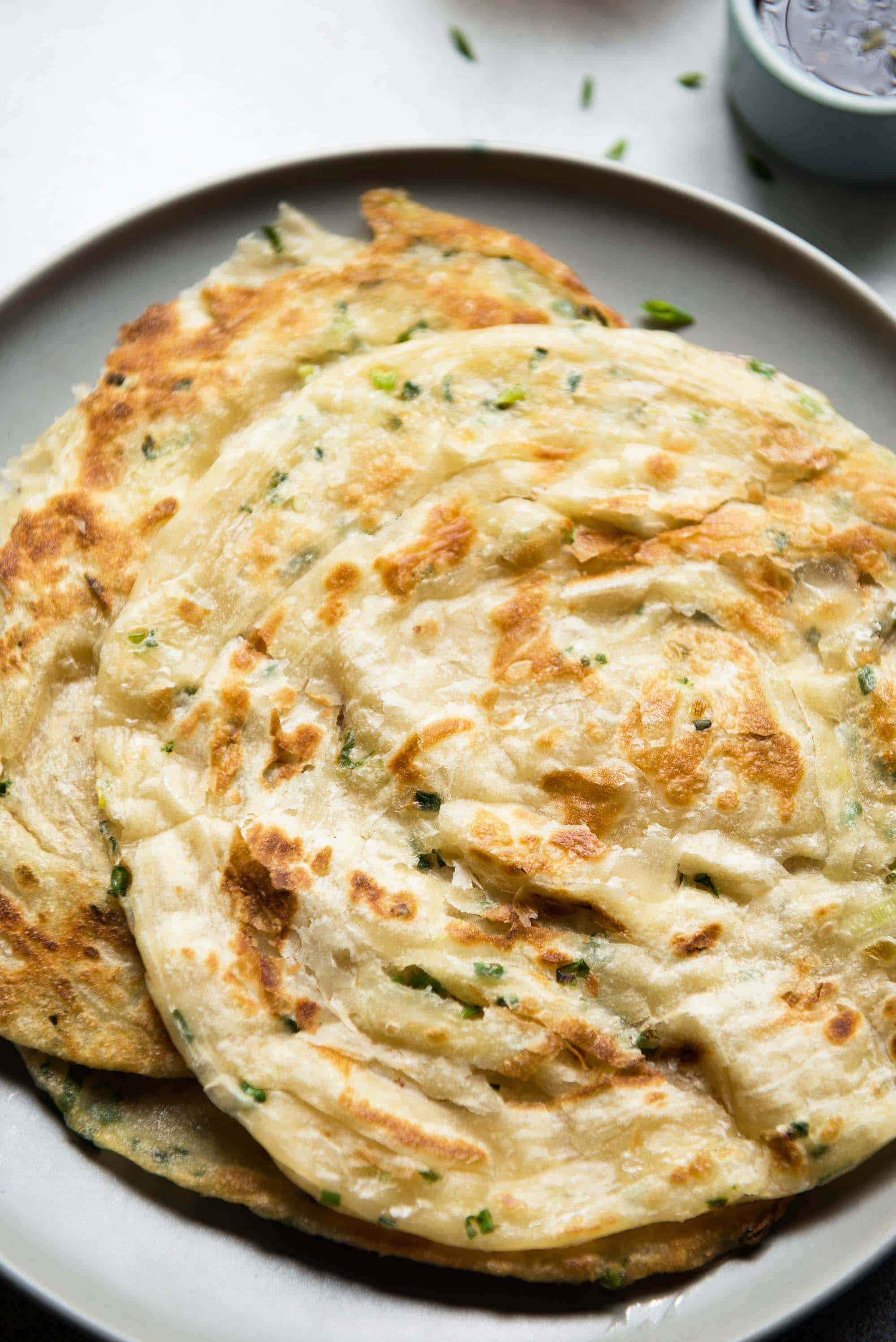 Extra Flaky Scallion Pancakes with step-by-step photos (vegan)