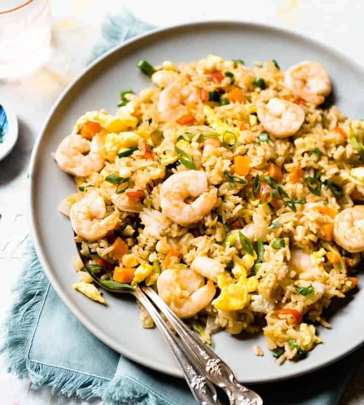 Shrimp & Egg Fried Rice - easy, healthy meal in less than 30 minutes!