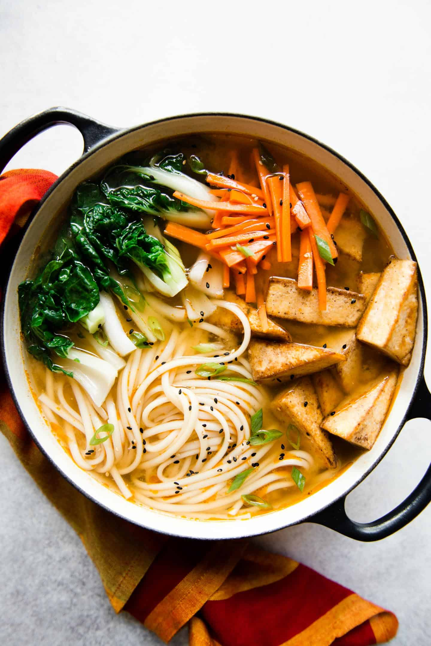 Ginger Miso Udon Noodle Soup with Five-Spice Tofu