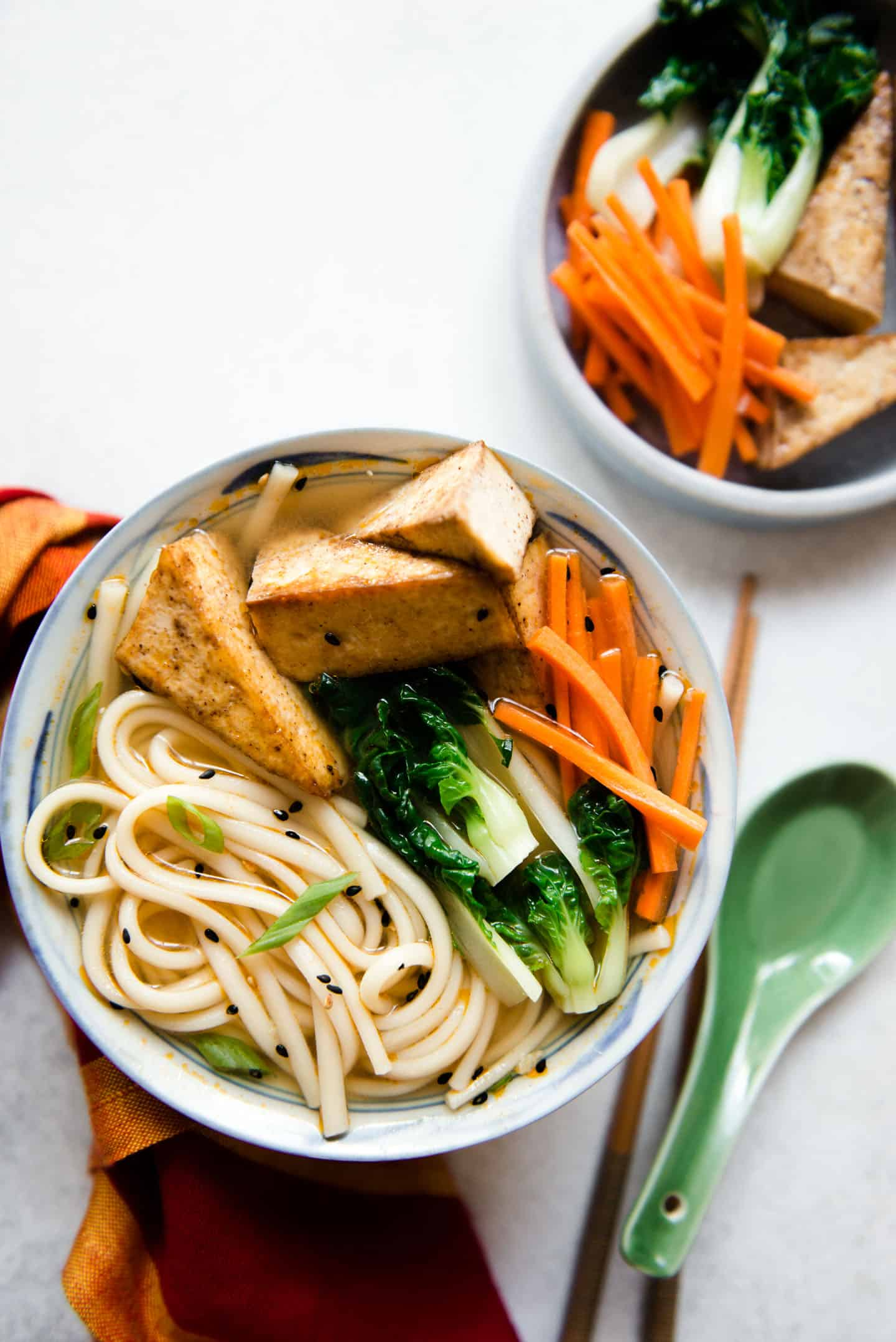 Ginger Miso Udon Noodles with Five Spice Tofu