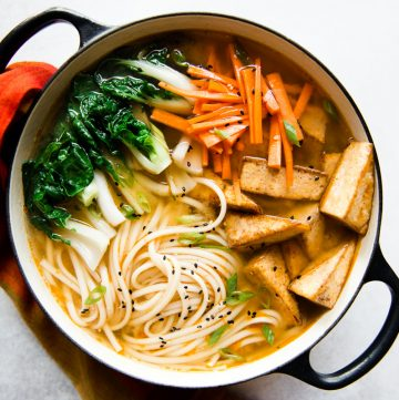 Ginger Miso Udon Noodles with Five-Spice Tofu (Vegan)