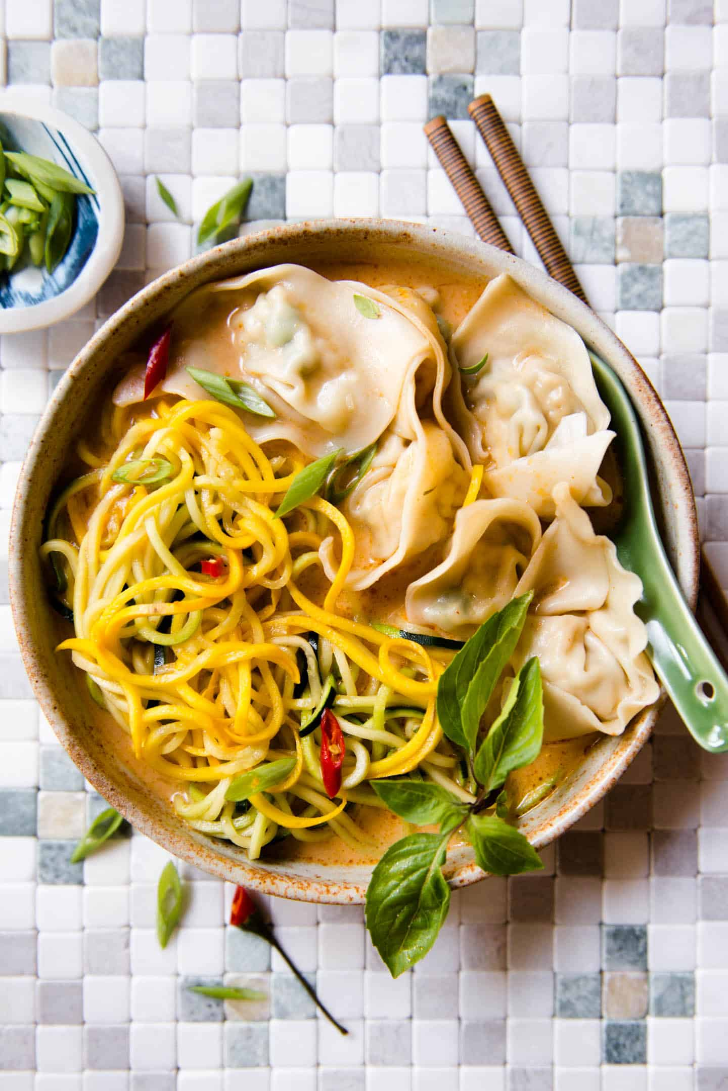Red Curry Wonton Soup Recipe with Zucchini Noodles