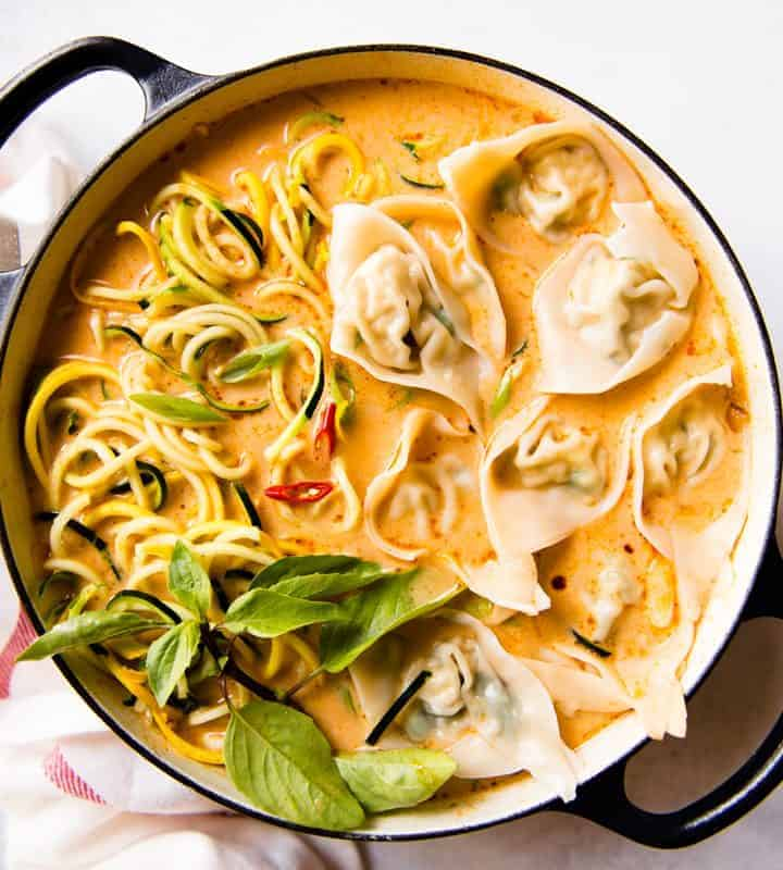 Red Curry Wonton Soup with Zucchini Noodles (Vegetarian)