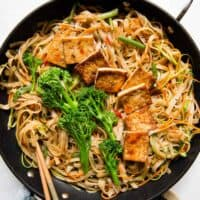 Tofu Stir Fry Noodles Recipe with Dried Plum Sauce (Vegan)