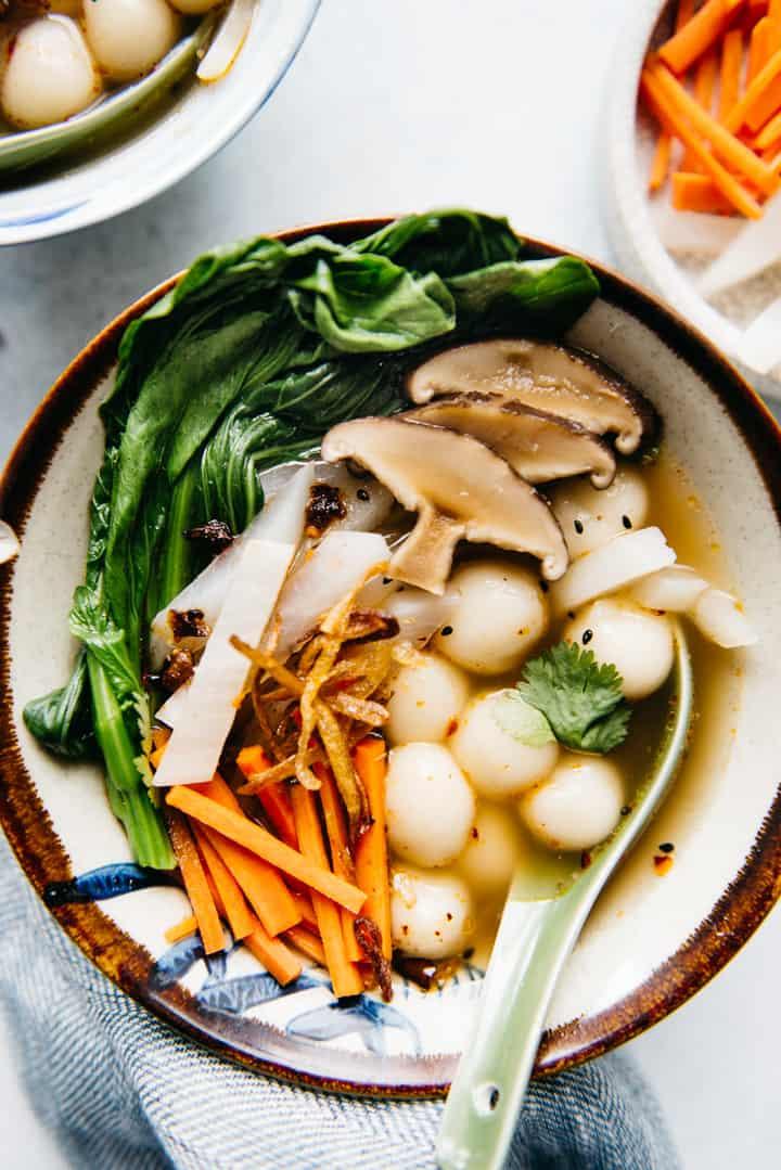 Savory Tang Yuan Recipe (Vegan) - Chinese glutinous rice dumplings for winter's solstice
