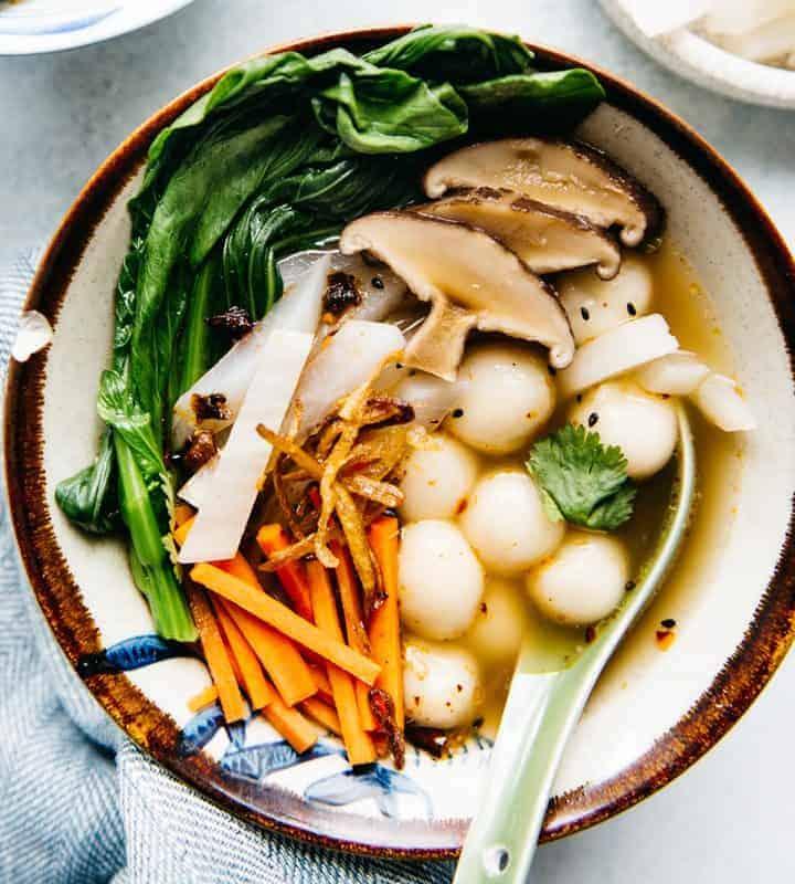 Savory Tang Yuan Recipe (Vegan) - Chinese dish for winter's solstice