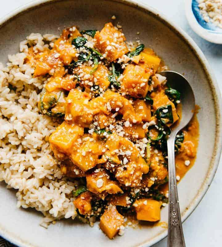 Delicious Vegan Butternut Squash Curry Recipe - ready in 45 minutes!