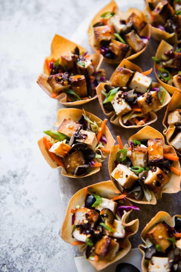 Sweet Chili Tofu Wonton Cups Recipe - a great appetizer!