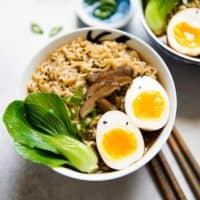 Easy Vegetarian Ramen Recipe - ramen noodles cooked in a flavorful umami broth made with mushrooms and kombu. Top it with a ramen egg!