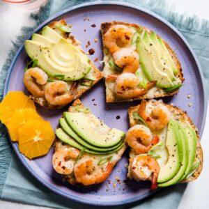 Orange Honey Shrimp Avocado Toast