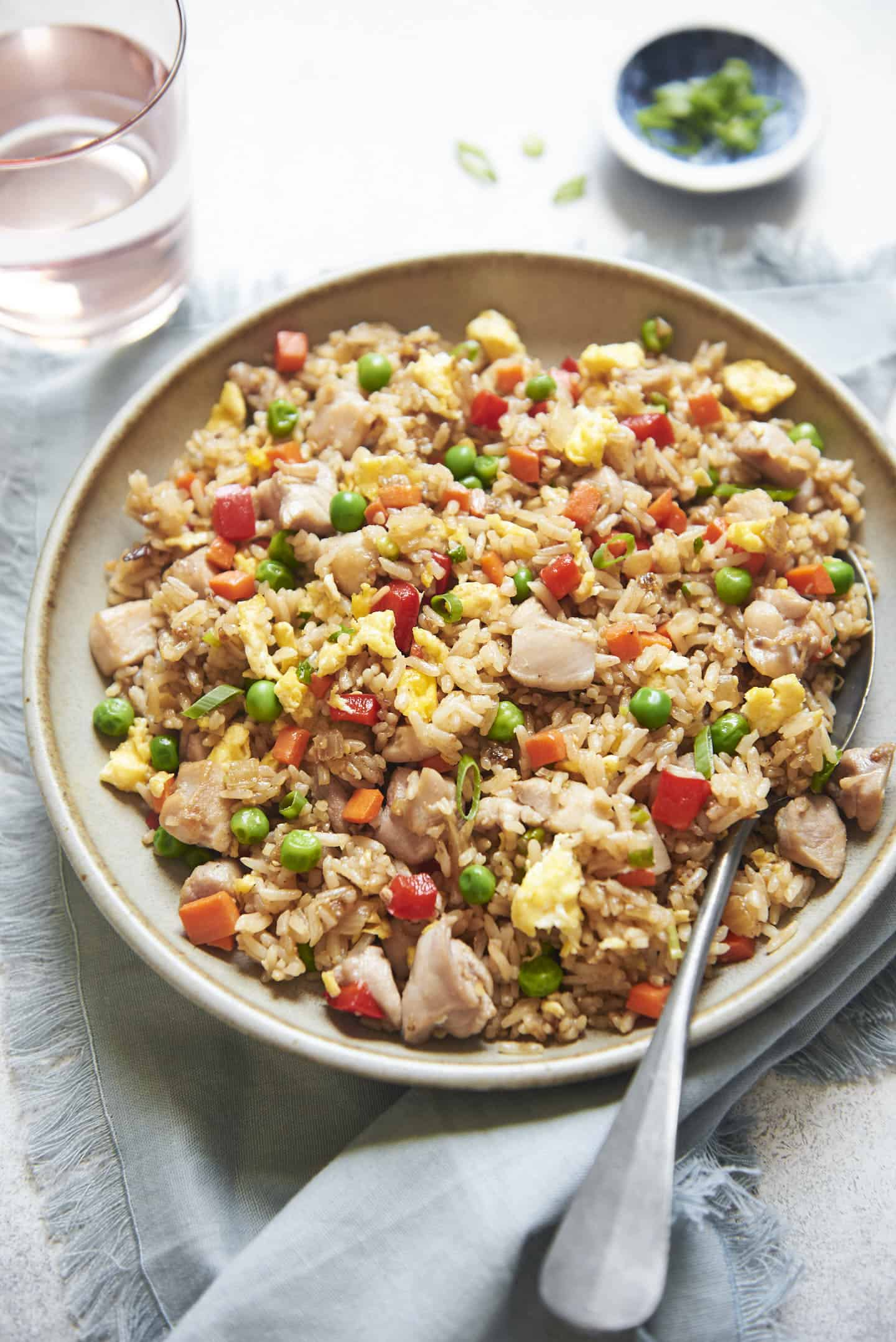 How many calories in one cup of chicken fried rice